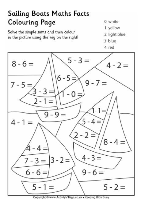 Color-by-number 1st Grade Worksheet  Sailing boats maths facts colouring page