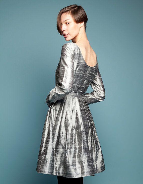VENICE  steel grey silk dress with button up  low by mrspomeranz