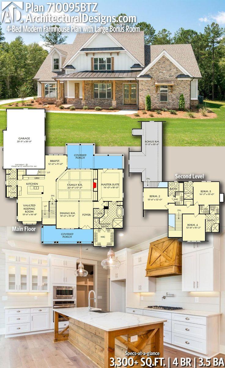 Plan 710095BTZ: 4-Bed Modern Farmhouse Plan with Large Bonus Room