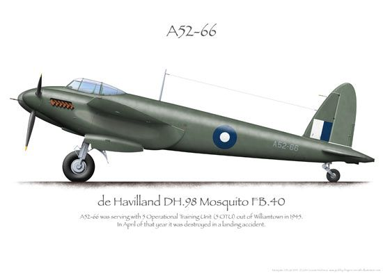 Mosquito FB.40 A52-66 RAAF 5OTU 1945 - 1940-50 De Havilland 'DH.98' Mosquito. RAF,RCAF,RAAF, USAAF - Light Bomber, Fighter Bomber, Night Fighter, Maritime strike aircraft, photo-reconnaissance. Engine: 2 x Rolls Royce Merlin 21/21 or 23/23 (left/right), liquid cooled V12 engine (1480 hp 21 & 23, 1103 kW). Armament: 4 x 20 mm (.79 in) Hispano Mk II cannon (fuselage) & 4 x .303 in (.79 mm) Browning machine guns in the nose. Max Speed: 366 mph (318 kn, 589 km/h) @ 21,400 ft (6500 m)