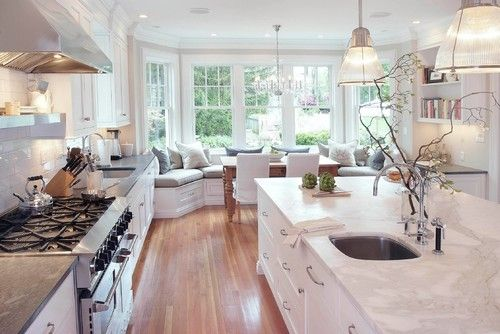 Gorgeous bright, white, light-filled kitchen with beautiful window seat. #dreamhome