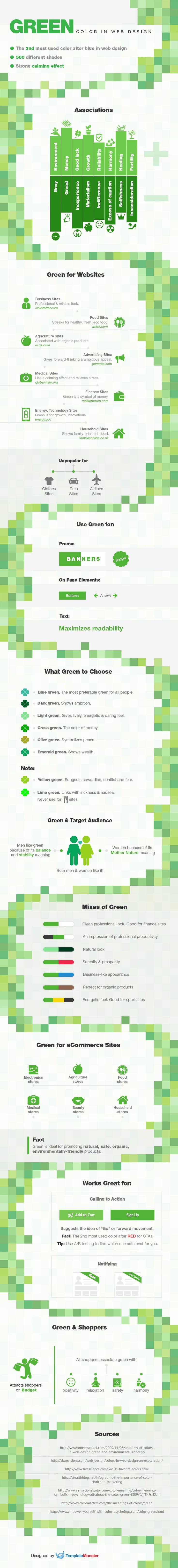 Green Color in Web Design [Infographics] #greeninspiration #webdesigntutorial #stpatricksday  https://www.templatemonster.com/blog/green-color-web-design-infographics/