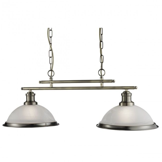 Bistro Antique Brass 2 Light Ceiling Bar Pendant With Acid Glass Shades