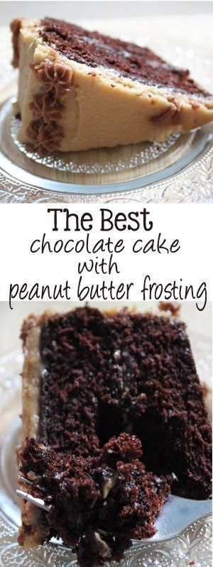 Moist and decadent chocolate cake, smothered with the creamiest peanut butter frosting. The best part is, this is the best chocolate cake with peanut butter frosting!   http://EverydayMadeFresh.com
