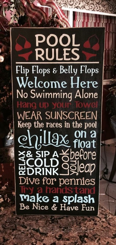 Primitive Pool Rules Typography Sign in Home & Garden, Home Décor, Plaques & Signs | eBay