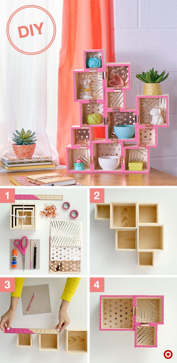 A DIY to keep you stylishly organized. Step 1: Gather supplies: 2–4 sets of square nesting boxes, tissue paper, large binder clips, Washi tape, glue stick, Xacto knife, ruler and a pencil. Step 2: Lay out boxes in a design that works for your space, keeping the bottom squares even. Step 3: Measure the inside of each box and cut the tissue paper to fit. Glue in. Step 4: Attach Washi tape to the front edge of each box, flip over and cut off the excess; secure together with binder clips. Done!