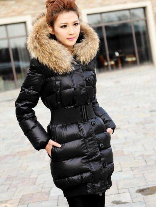Womens Winter Raccoon Long Fur Down Jacket Coat Parka With
