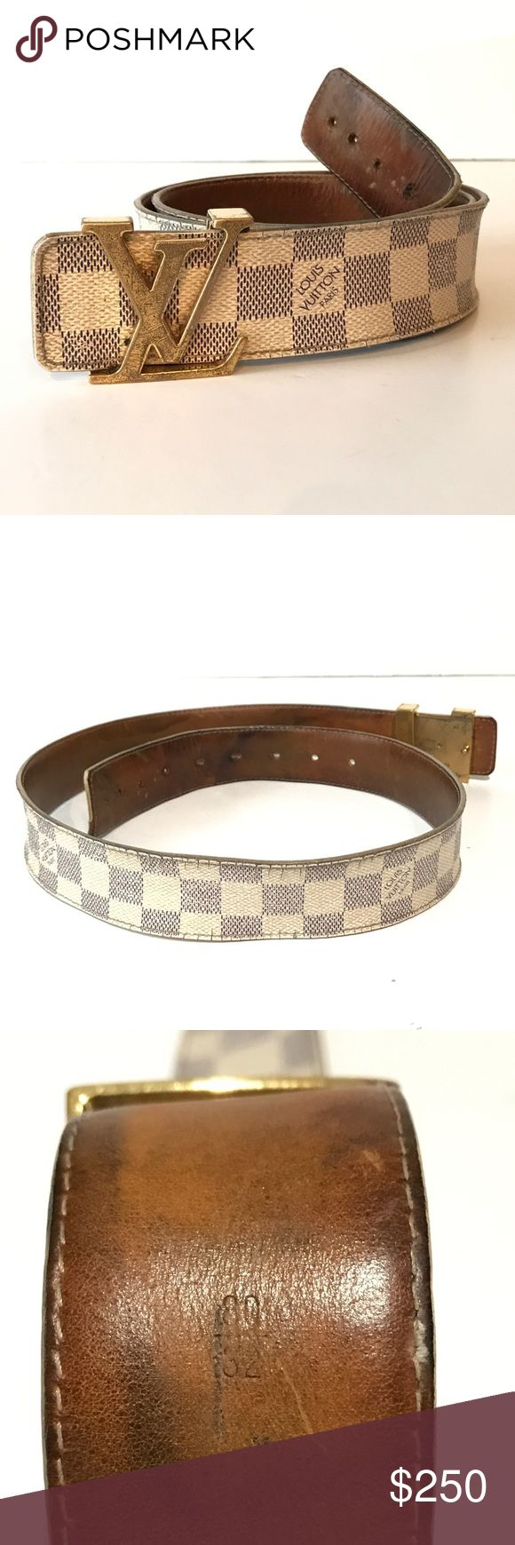 Authentic Mens Gold LV Initials 40mm DA Belt 80/32 100% Authentic Men's Gold LV Initials 40mm DA Belt 80/32  Size: 80/32 (2 extra holes punched to fit up to size 34) Color: DA Damier Azur Canvas Style: 40mm Gold Buckle 40mm LV Initials Belt Gender: Men / Women / Unisex Condition: 3.5/10 (very worn but still usable, see pics)  Made in Spain Date Code: CA1027 (December 2007)  Like us on Facebook! @ModaByBoutique Moda Boutique SF Louis Vuitton Accessories Belts