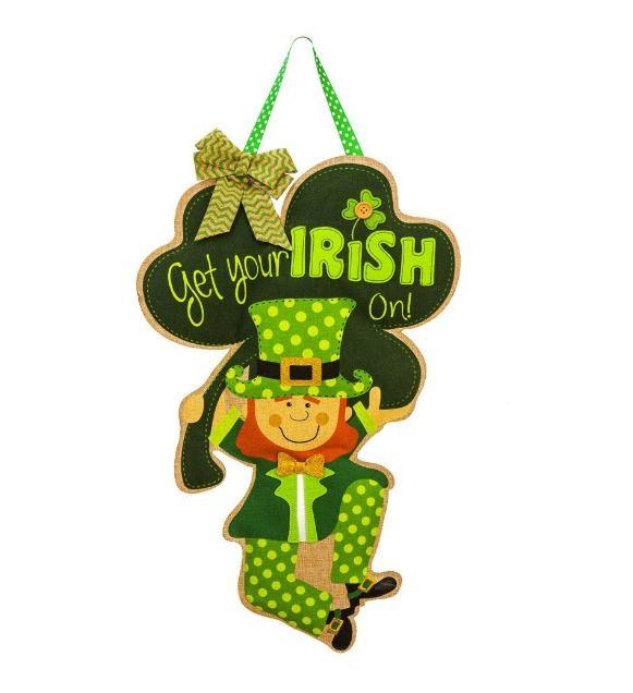 Burlap Saint Patricks Day Irish Wall Decor Leprechaun Hanging Door Sign NEW #EvergreenEnterprises