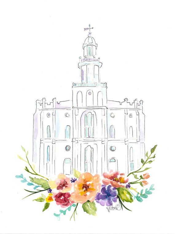 LDS Temple watercolor St. George by SweetnSandy on Etsy