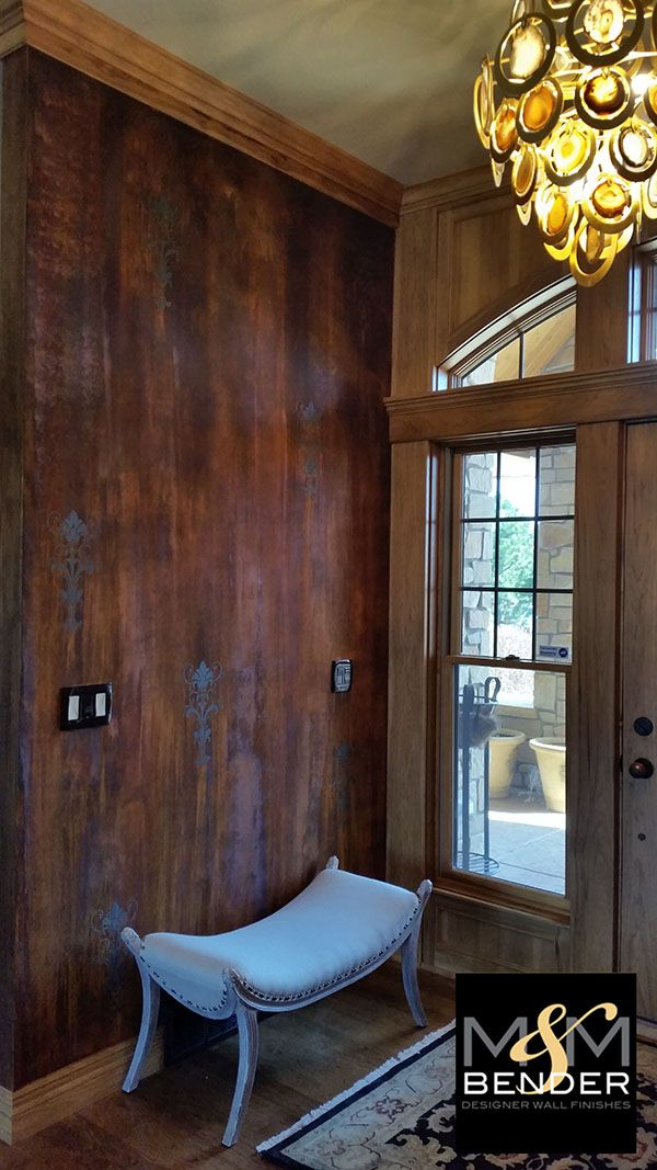 Striking faux decorative paint finish on foyer walls by mm bender