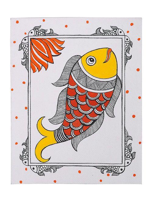 Fish Madhubani Greeting Card 7in x 5.5in