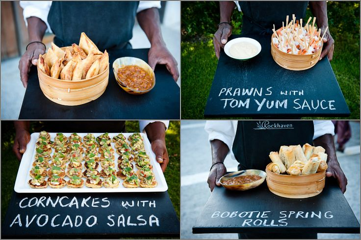 South African canapes served on black boards? Awesome!