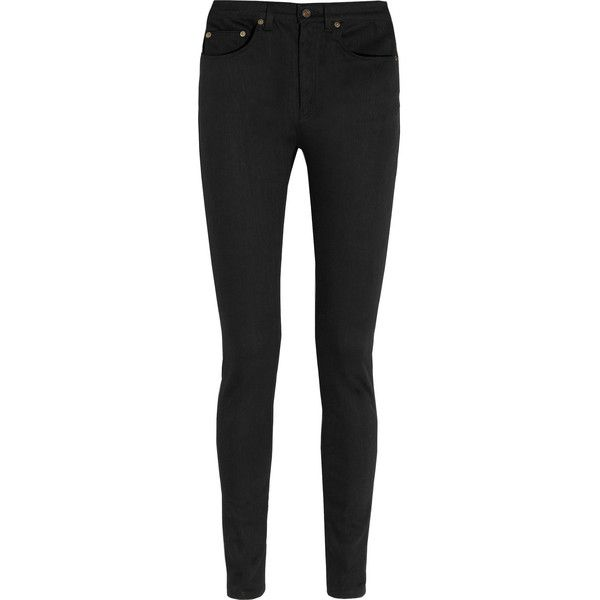 Saint Laurent High-rise skinny jeans ($590) ❤ liked on Polyvore featuring jeans, pants, calças, bottoms, black, skinny fit jeans, high-waisted skinny jeans, super high rise skinny jeans, black jeans and skinny leg jeans