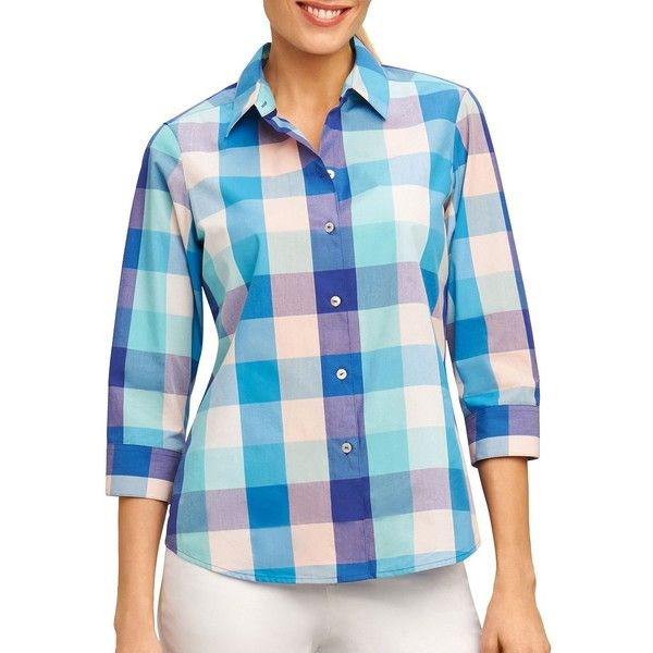 Foxcroft Women's Mi Amor Matador Checked Button-Down Shirt ($9.50) ❤ liked on Polyvore featuring tops, ruby red, stitch shirt, blue checkered shirt, button down shirt, blue 3/4 sleeve shirt and blue checked shirt
