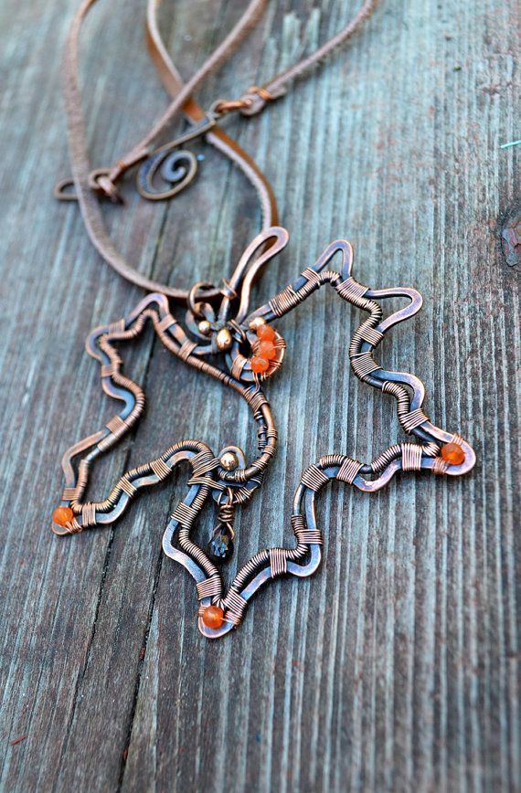 Wirewrapped necklace, wire wrap, maple leaf, gift for her, earthy rustic, elven…