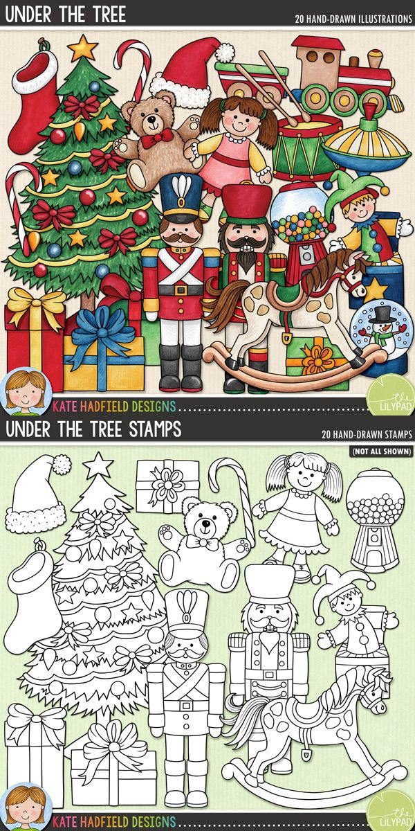 These doodles were inspired inspired by my own magical memories of discovering all sorts of wonderful goodies waiting Under the Tree on Christmas morning! #katehadfielddesigns