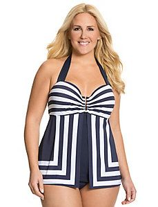 Striped flyaway swim tank with built in balconette bra