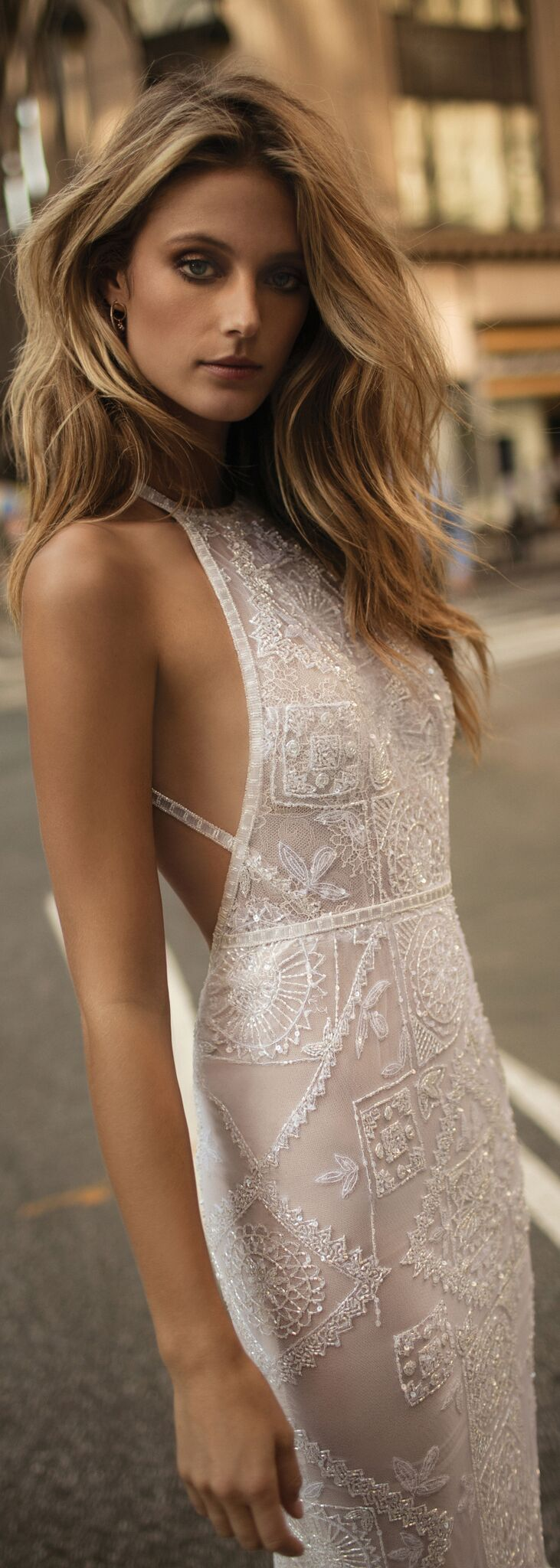 The beaded pattern on this Berta dress is so unusual! @bertabridal