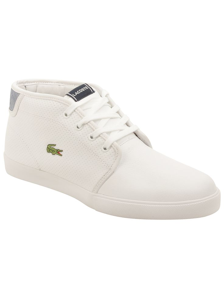 Lacoste Mens Ampthill Lin Sneakers in White/Dark Blue