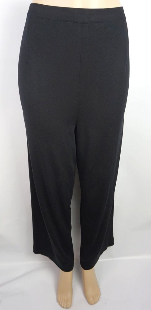 55f4c009869 Misook Black Pants Trousers Size XL Straight Leg Knit Flat Front Pull Up