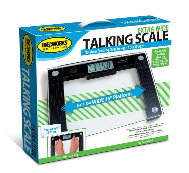 Bath Scale JB5824 Jobar IdeaWorks Extra Wide Talking Glass Bathroom Scale Weight