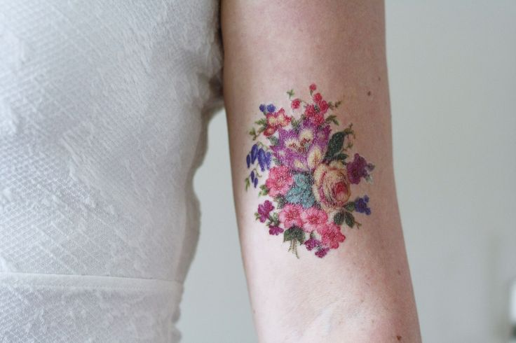 Pretty colorful vintage floral temporary tattoo - a temporary tattoo by Tattoorary