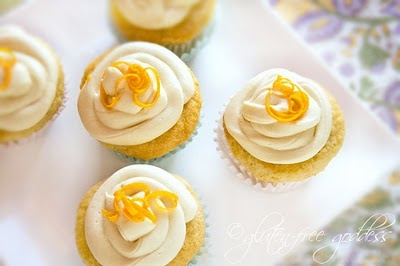 Gluten free (dairy free too) Frosted Orange Creme Cupcakes. yum, for the Celiac in the house.