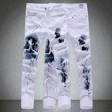 Moda hombre slim fit cartas de papel de impresión pantalones vaqueros Masculinos más tamaño ocasional pantalones de mezclilla blanco pantalones Largos Envío Libre(China (Mainland))