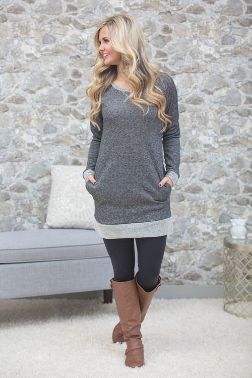This warm sweatshirt tunic is perfect for staying cozy on the couch on a cold winter night!