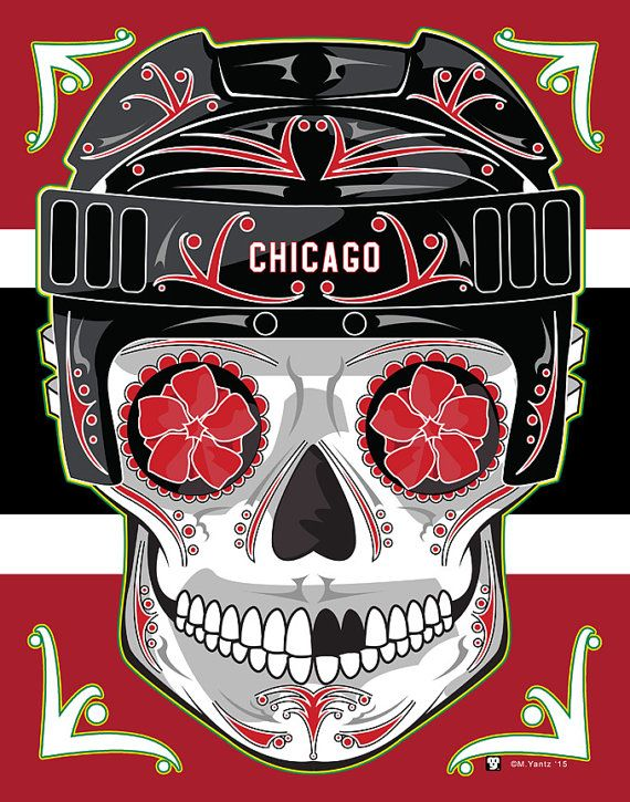 Chicago Blackhawks Sugar Skull Print 11x14 print by MYantz on Etsy