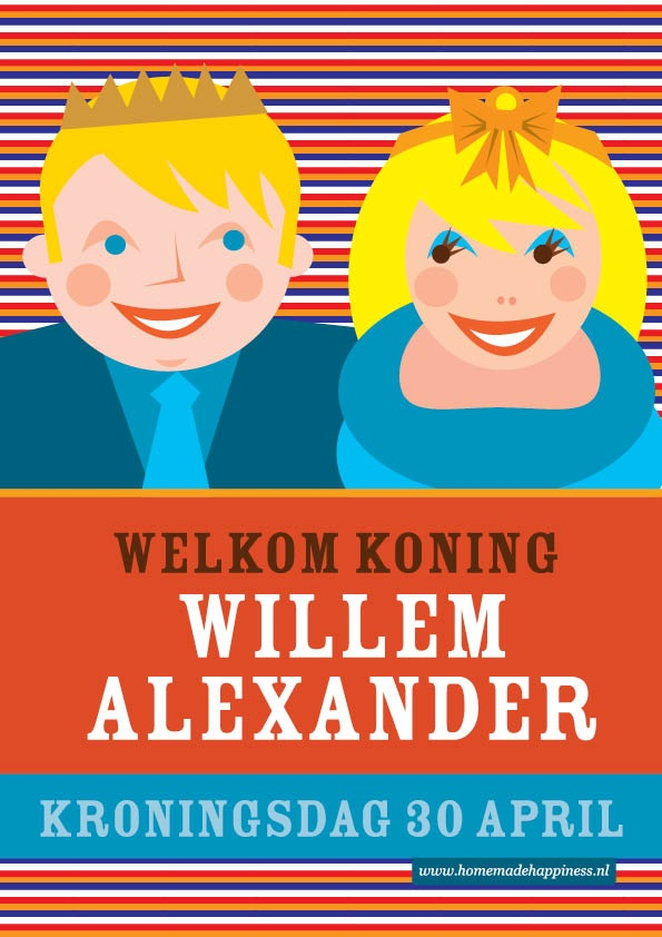 ~K(r)oningsdag Poster: gratis downloaden, printen en op je raam plakken. Oranje boven van Homemadehappiness~