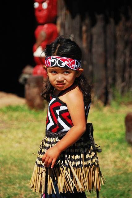 Little Maori Girl in Whakarewarewa Thermal Maori Village, Rotorua, New Zealand