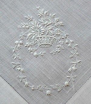 Em's Heart Antique Linens -Antique Linen Swiss Embroidered Handkerchief