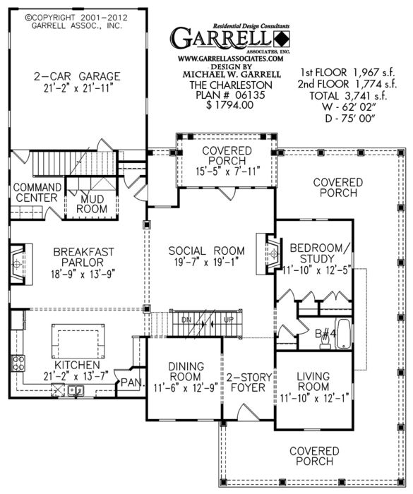 Charleston House Plan 06135, 1st Floor Plan,Traditional House Plans