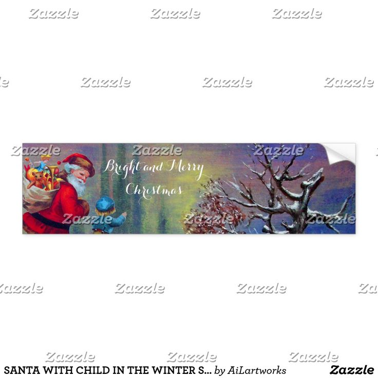 SANTA WITH CHILD IN THE WINTER SNOW BUMPER STICKER  #trees #snow #toys #xmas #stickers