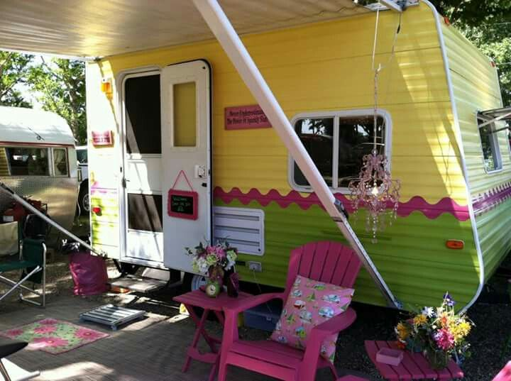 BLOG: Painter Jayco travel trailer : yellow & green with pink. | Tiny vintage caravan - glamping <O> SOTF sistersonthefly