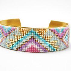 Sur commande °bracelet manchette en perles miyuki et bracelet laiton ° motif indien ° rose violet bleu or