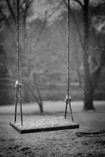 This relates to Mr Floods Party because it shows a lone swing left by itself.  This is how Mr Flood feels about his life after losing all his friends and having no one left in town to talk to.