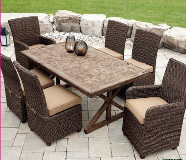 Hometrends 7 piece faux wood dining set for Table exterieur walmart