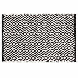 Tappeto nero e bianco a motivi in cotone a pelo corto 60 x 90 cm ETHNICO