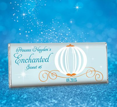 Cinderella Birthday Party Favors with Carriage: Custom Wrapped HERSHEY'S Candy Bars