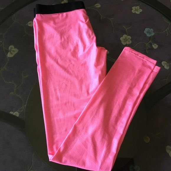 """PRICE FIRM Marks & Spencer leggings Condition: new without tag brand new unused and unworn item. Dark pink and light pink strips black elastic waistband. 50% polyester 50% viscose.  UK size 10 US size 6 Waist 27.5""""  Hip 37.5"""". 🛍 bundle 10% off MARKS & SPENCER Pants Leggings"""
