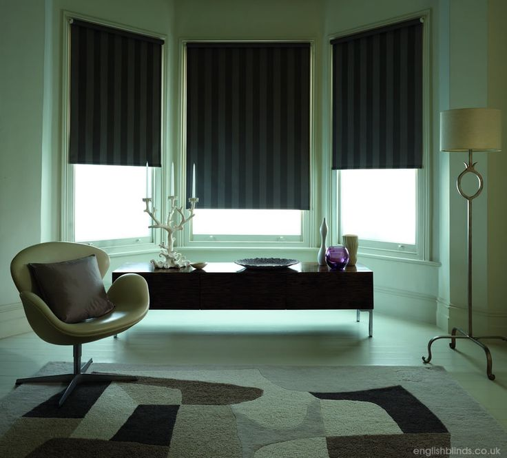 Traditional Vertical Striped Brown Blackout Roller Blinds In A Bay Window