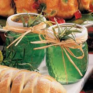 Rosemary Jelly Recipe -- Might be interesting to modify and do a rosemary/lavender jelly next year? Or Herbs of provence?