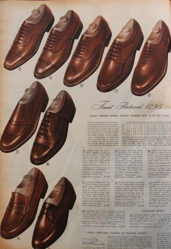 1950s mens dress shoes, mostly oxfords