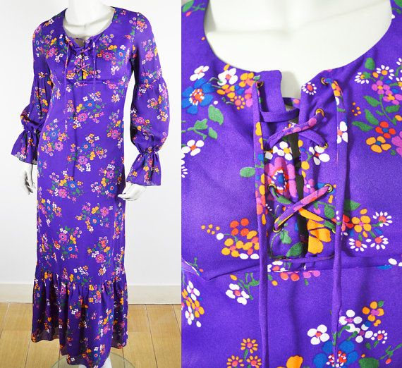 1970s vintage Flower Power Lace Up jurk / / paarse / / bloem print / / Maxi jurk / / 60s 70s VTG / / Boheemse Hippie / / Size 38