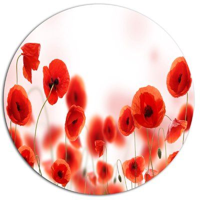 """DesignArt 'Poppy Flowers on Pink Background' Photographic Print on Metal Size: 38"""" H x 38"""" W x 1"""" D"""