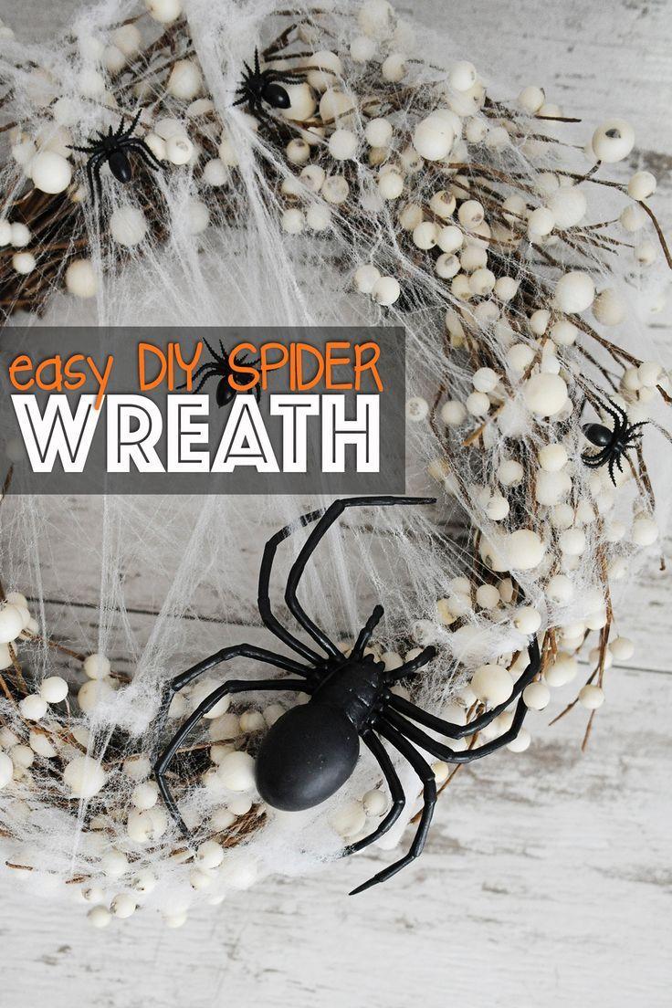 Einfacher DIY Spinnenkranz für Halloween