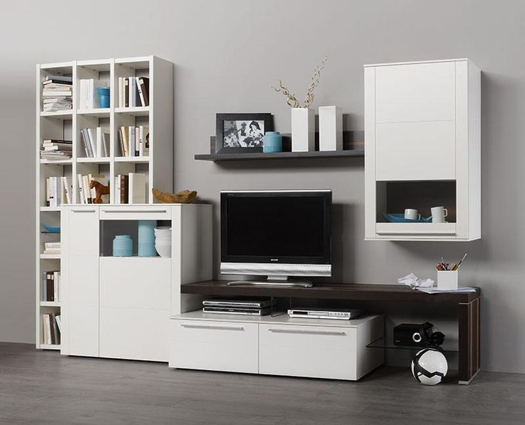 Bellano wall storage unit with cabinet and sideboard in white matt ...